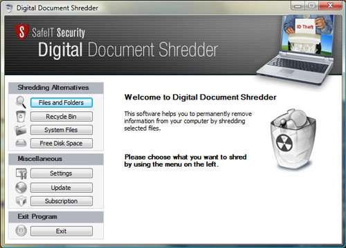 Click to view Digital Document Shredder 2011 screenshot